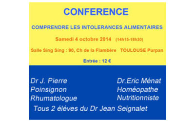 Samedi 4 0ctobre 2014 – Comprendre les intolérances alimentaires